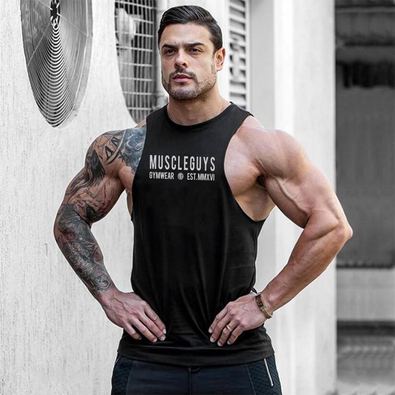 Muscleguys gymwear marca culturismo Stringer tank top hombres 2019 verano moda ropa deportiva Fitness chaleco sin mangas para M-XXL