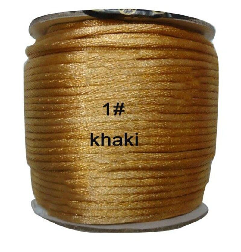 2mm Khaki Rattail Satin Nylon Cord+Jewelry Findings Accessories Macrame Rope  Bracelet Thread Beading Cords 60m/Roll