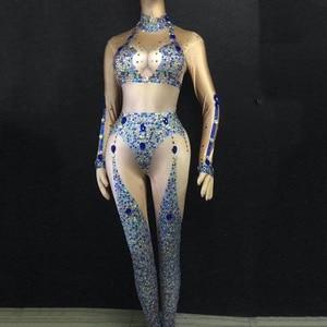 2021 Women New Sparkly Blue Rhinestones Stretch Sexy Jumpsuit Birthday Party Dance Bodysuit Celebrate DJ Singer Show Jumpsuit