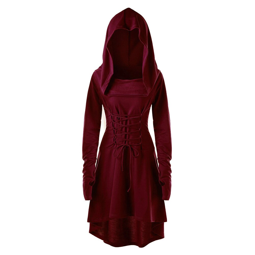Mujeres Vintage mujer pulóver alto vendaje bajo vestido largo trajes de encaje hasta con capucha vestido capa Casual Solidclothes túnica Mujer