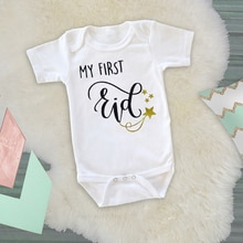 DERMSPE 2019 New Baby Short Sleeve Jumpsuit Cartoon Letter Print My First Eid Girl Boy Rompers Newbo