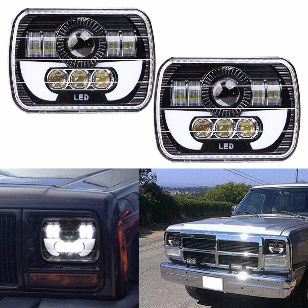 "5x7 ""LED cuadrado faro W/ DRL reemplazar H6054 H5054 H6054LL 69822, 6052 de 6053 para Jeep Wrangler YJ Cherokee XJ camiones 4X4 Offroad"