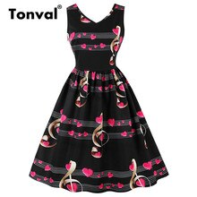 Tonval/принт музыкальных нот, черное платье, красивые шпильки для девушек, а-силуэта, женские винтажные платья без рукавов, Повседневное платье