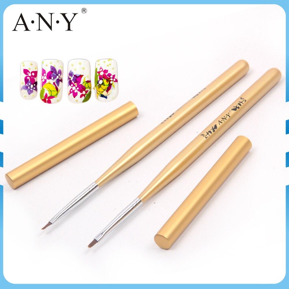 ANGNYA Nail Art  Beauty Care Golden Wooden Handle High-Tech Nylon Hair One Stroke Brush With Cap Single Piece A014