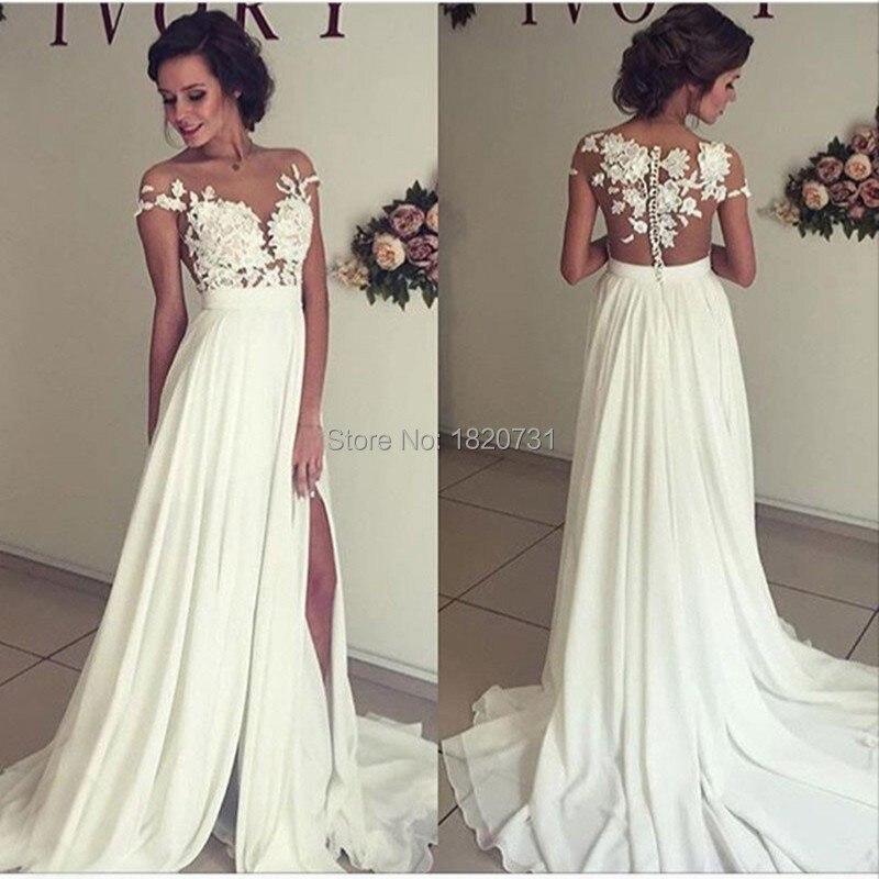 Vestidos Elegantes de Novia Baratos Robe Mariage estilo bohemio A-Line cuello pico...