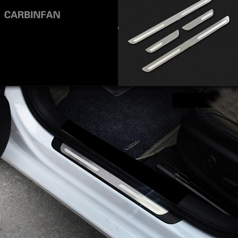 Estilo do carro de aço inoxidável tira peitoril da porta placa scuff guardas fora protetor adesivos para audi a3 2014 2015 2016 2017 c99