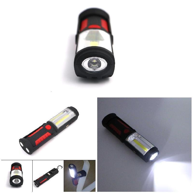 Ao Ar Livre recém USB Recarregável Lâmpada COB LEVOU Lanterna Ímã Stand Luz com Gancho