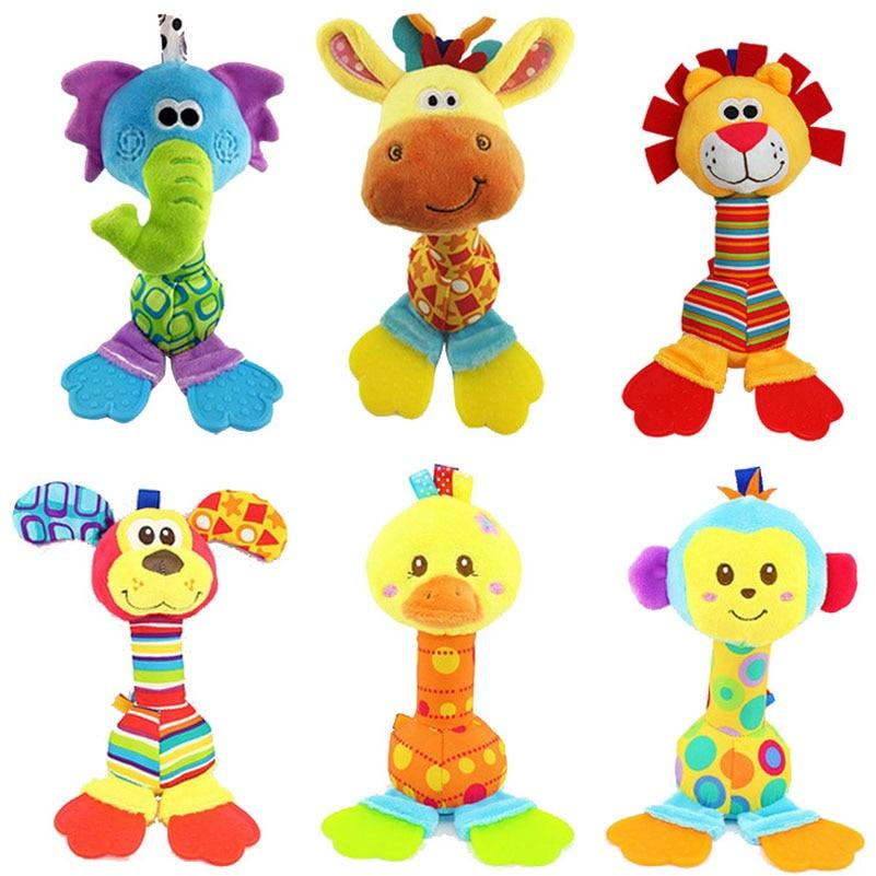Sonajero colgante 22CM Beanbag Hold traqueteo animales de juguete elefante Mono león pato perro educación temprana muñeca