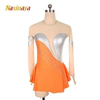 figure skating dress costume customized competition ice skating skirt for girl women kids silver color