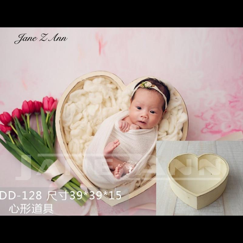 Jane Z Ann Newborn Baby Photography Love Heart wooden Basket Props Handmade studio shooting  Accessories 3 colors 39x39x15cm