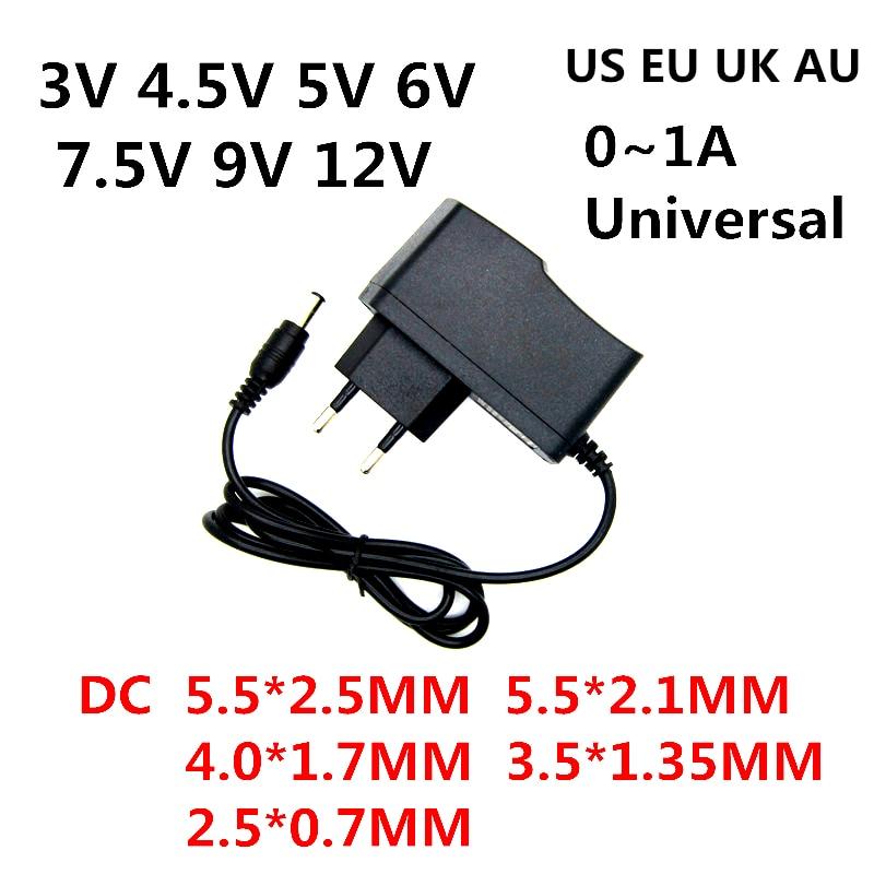 AC 110-240V DC 3V 4.5V 5V 6V 7.5V 9V 12V 0.5A 1A Power Supply 3 4.5 5 6 7.5 9 12 V Volt Adapter Char
