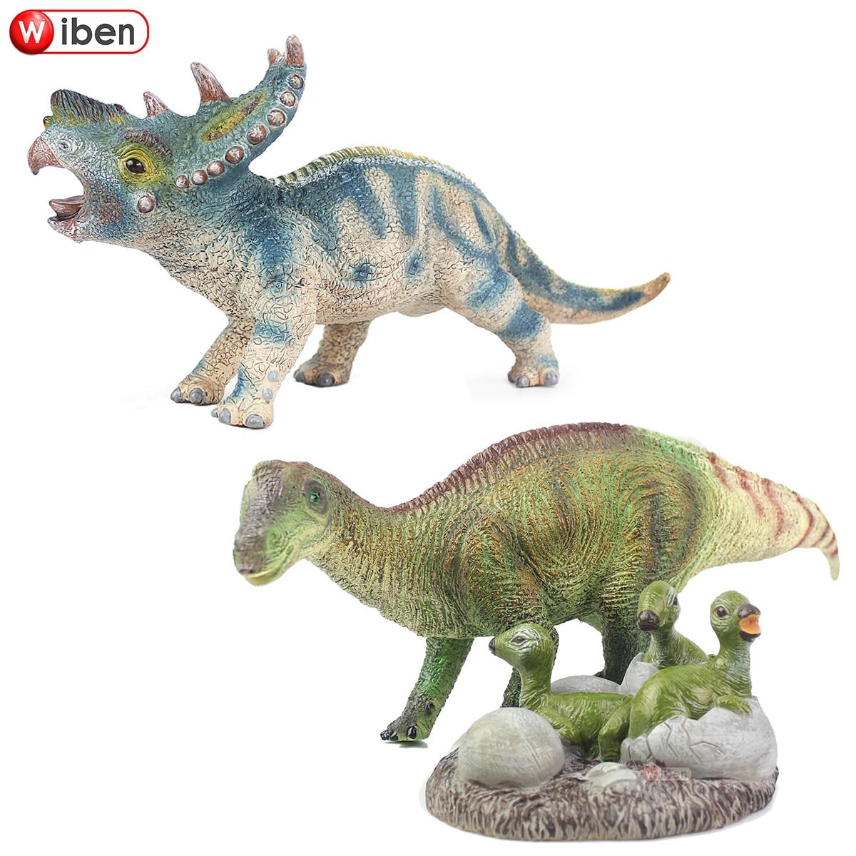 Wiben Simulação Jurássico Pachyrhinosaurus Maiasaura Brinquedos Modelo Coleção Figuras de Ação & Toy Animal macio do Dinossauro para o Menino Gif