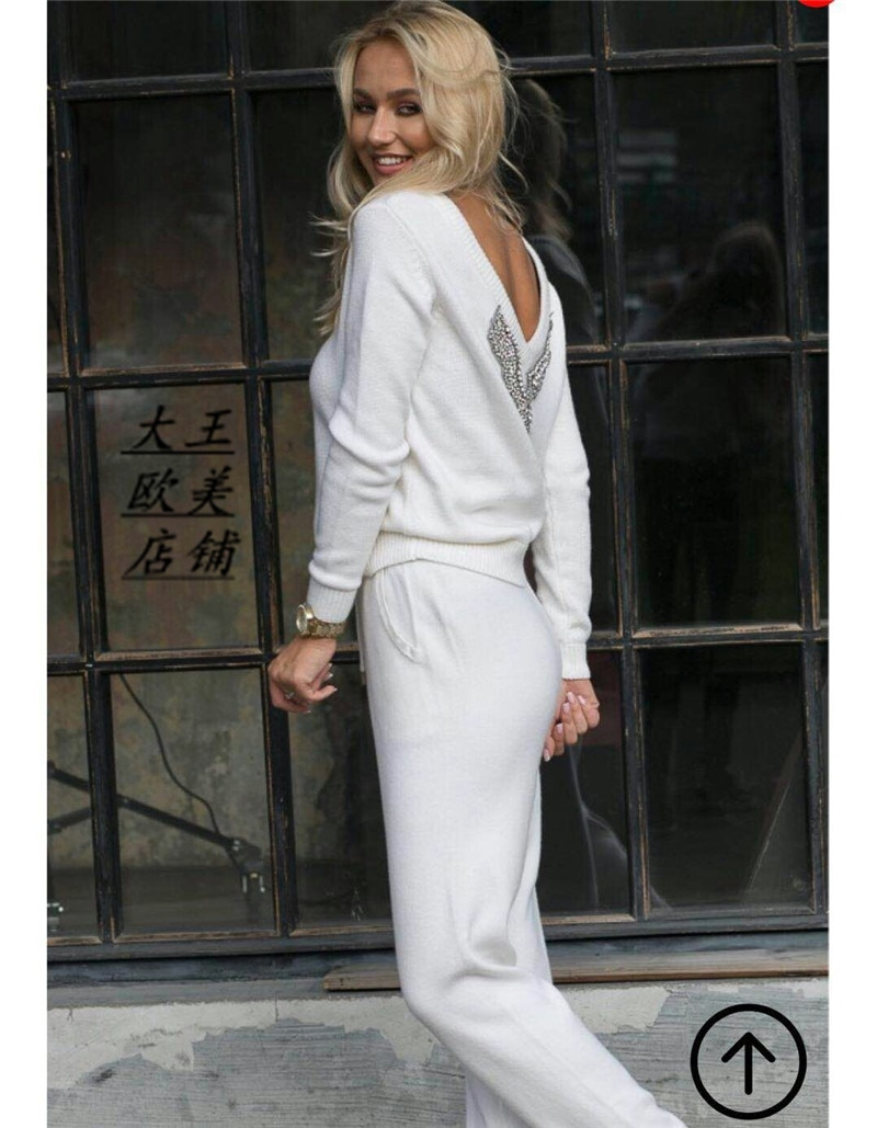 2020 Drawstring Wool New Women's Hot Sale 2 Piece Suit Knitted Mink Velvet Handmade Beaded Sexy V-neck Knit Two-piece Female