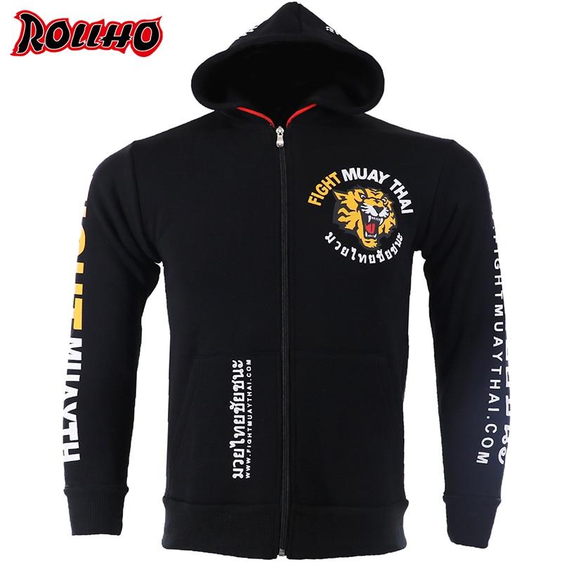 MMA Rock Tiger Boxing sudaderas con capucha chaqueta de Otoño de manga larga Sudadera con capucha kickboxing combate chaqueta MUAY THAI
