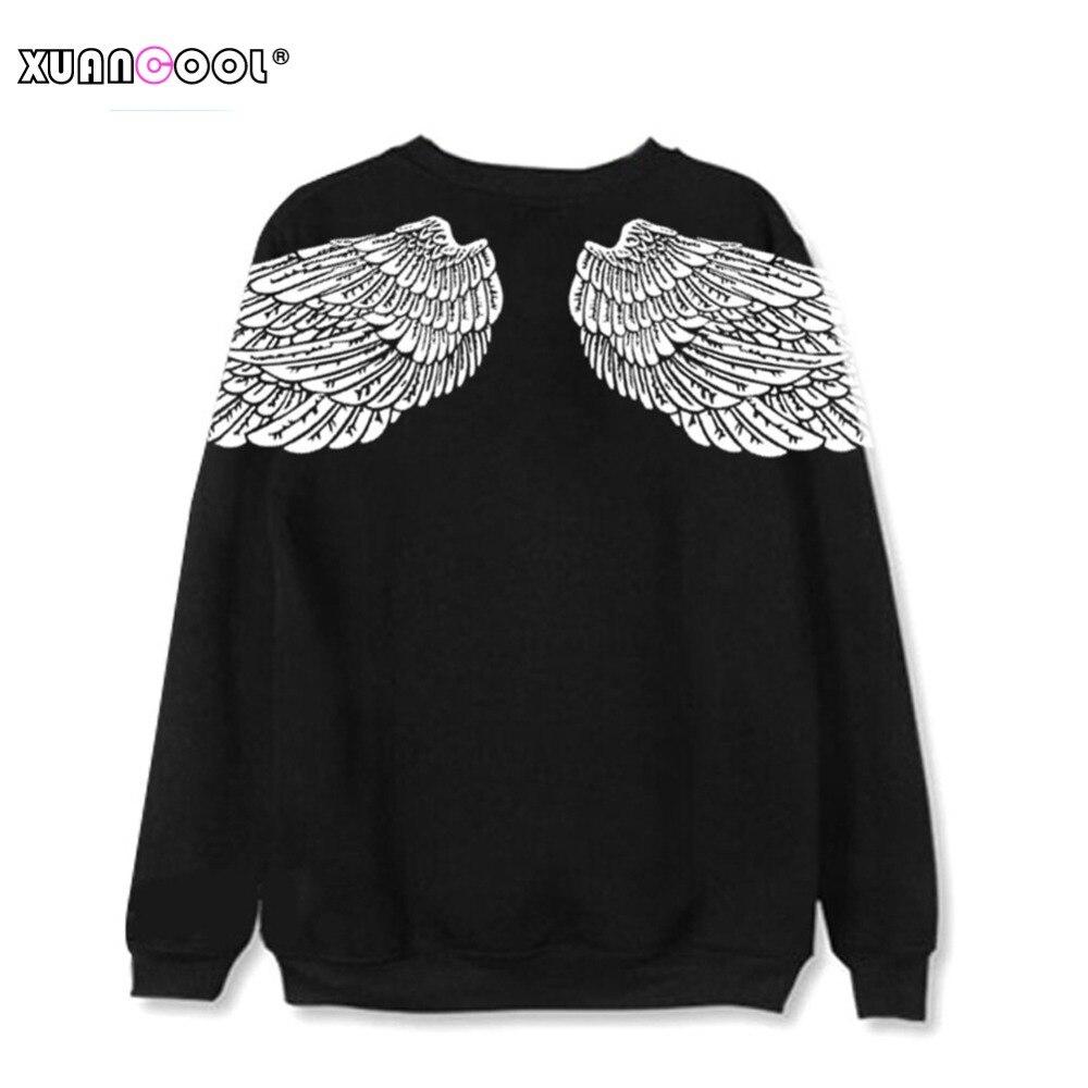 Свитшот XUANCOOL в стиле унисекс, черная уличная одежда для влюбленных, рубашка с длинным рукавом, спортивный костюм, топ с крыльями ангела, S-XXL, ...