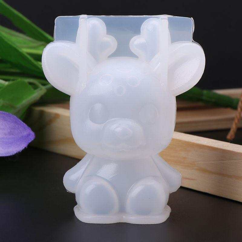 Силиконовые 3D формы в виде животных, милый кролик, олень, рождественский подарок, сделай сам, ювелирных изделий, инструменты для декора, изделия из смолы, ручной работы