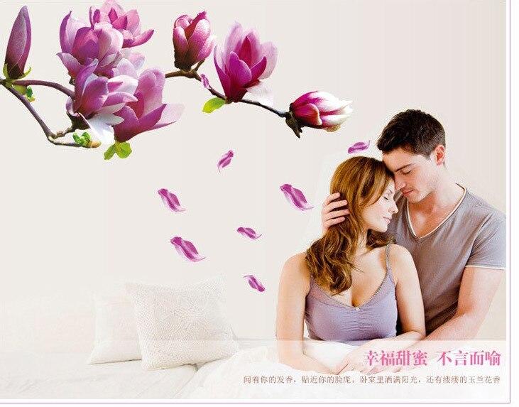 Pegatina de pared de flores de gran tamaño, pegatinas de fantasía de tulipán para pared, calcomanías de fondo de flores rosas para dormitorio y sala de estar, decoración del hogar