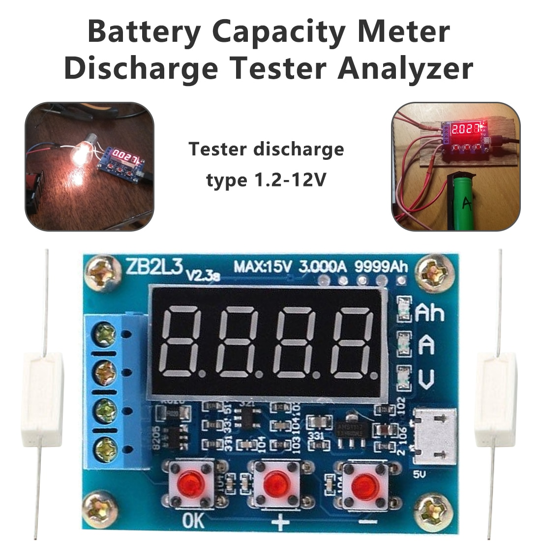1.2v 12v ZB2L3 18650 Li-ion Lithium Battery Capacity Tester Battery Charging Indicator