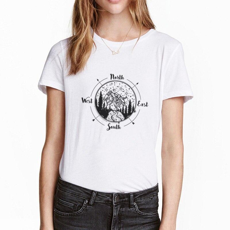 Harajuku negro blanco Simple brújula estilo dirección camiseta noche cielo montaña gráfico...