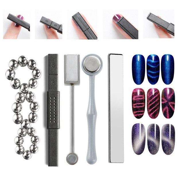 Bâtons magnétiques pour peinture UV   Bâtons en forme doeil de chat en boîte en, bâtons magnétiques à effet magique, lampe UV pour vernis à ongles en Gel