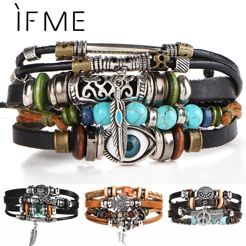 IF ME BOHO Tibet Stone Feather Multilayer Leather Bracelet Eye Fish Charms Beads Bracelets for Men V