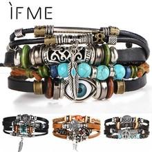 Si moi BOHO Tibet pierre plume multicouche Bracelet en cuir oeil poisson breloques perles Bracelets pour hommes Vintage Punk Bracelet