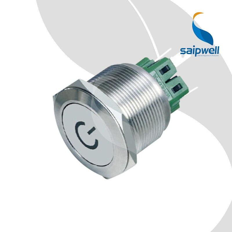 Mini interruptor de botón pulsador con simblo de potencia/interruptor de 25mm con forma de cabeza plana de acero inoxidable (SP25-A3)