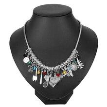Dongsheng étranger choses collier ras de cou breloque et pendentifs cristal et verre perles colliers avec pistolet accessoires pour femmes cadeau
