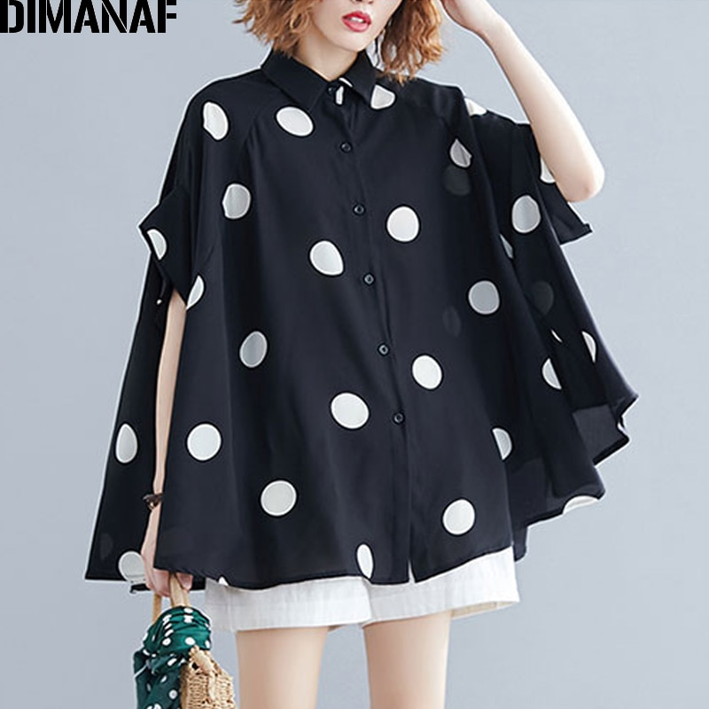 AliExpress - DIMANAF Plus Size Women Blouse Shirt Big Size Summer Casual Lady Tops Tunic Print Polka Dot Loose Female Clothes Batwing Sleeve