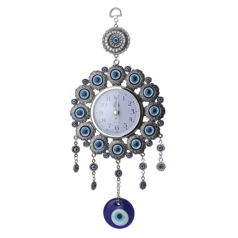 Mal olho turco elephont mal olho esponja metal vidro charme pingente amuleto nazar relógio decoração para casa escritório protetor ornamento