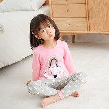 Pijamas de invierno para niños y niñas, Pijamas de algodón con dibujos animados para niños, Pijamas para niñas, ropa superior + pantalón, 2 uds, trajes de dormir