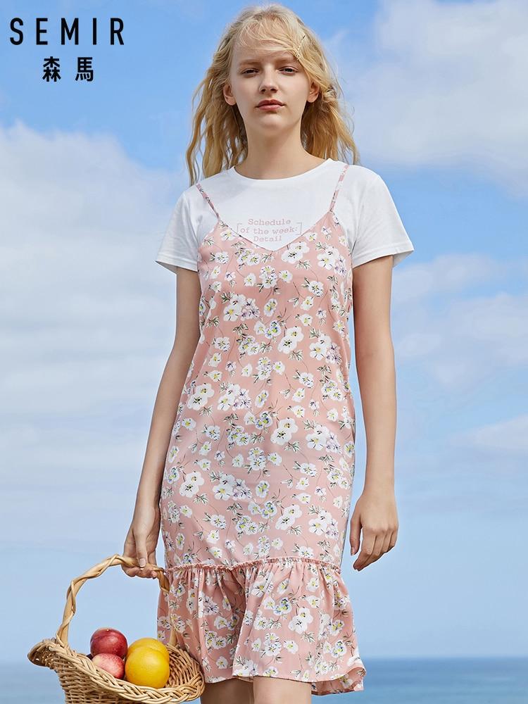 SEMIR traje vestido de mujer 2019 novedad de verano vestido de estudiante de dos piezas de moda de manga corta Camiseta Correa vestido para fiesta