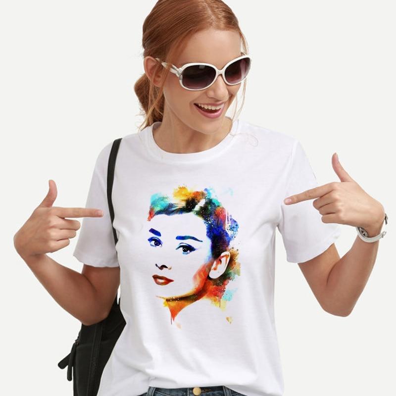 New Audrey Hepburn Printed t shirt women white o-neck summer tops 2018 femme fashion watercolor tshirt hipster shirt plus size