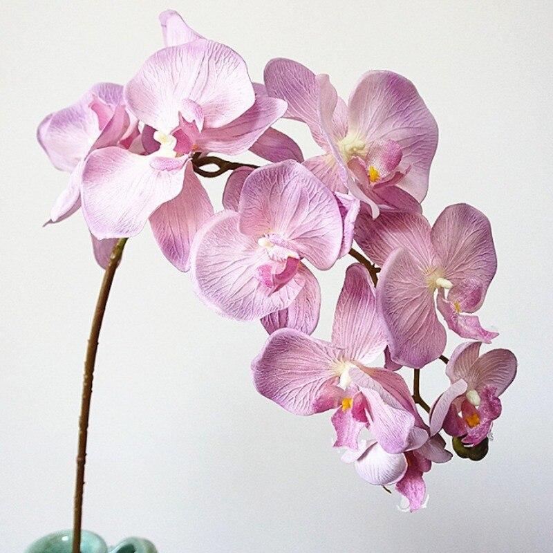 10 cabezas grandes orquídeas artificiales flores estilo Retro europeo mariposa orquídeas hogar boda fiesta decoración flores de seda falsa