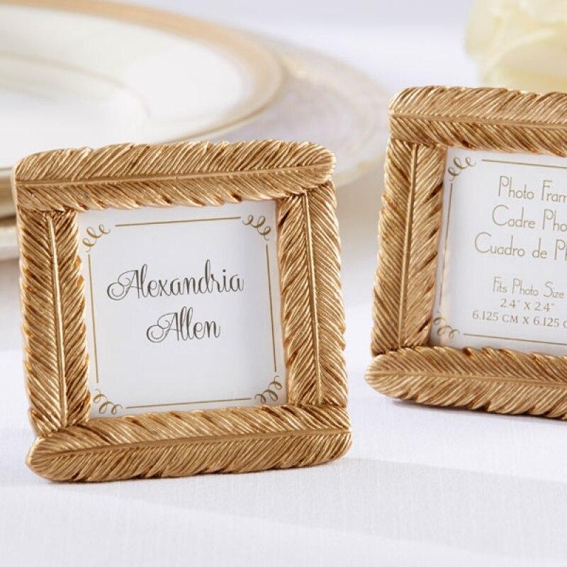 Новинка, маленькая фоторамка из смолы с золотым пером, визитница с задней стендой, Свадебная вечеринка, подарок на Рождество