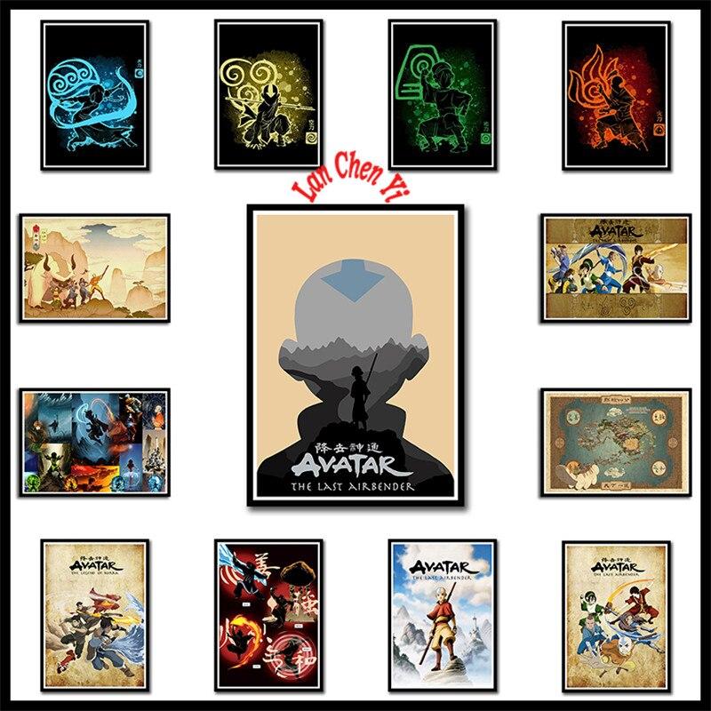 Imágenes de carteles de papel revestido blanco Avatar The Last Airbender para decoración de habitación cartel para casa sin marco