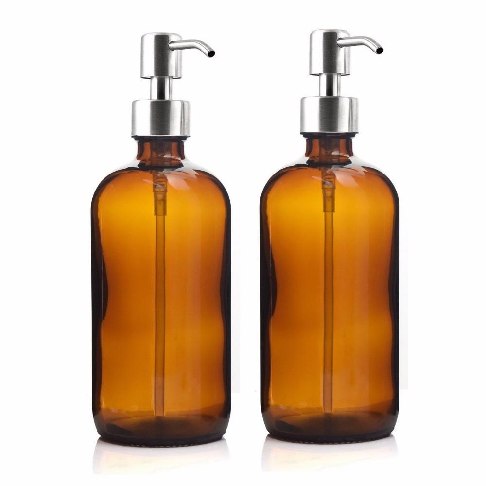 16 унций большой 500 мл диспенсер для жидкого мыла Янтарный стеклянный насос бутылка с насосом из нержавеющей стали лосьон насос для домашнего лосьона моющее средство