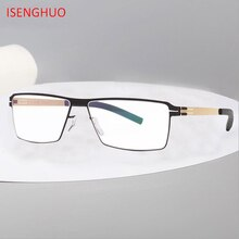 ISENGHUO Germany Unique No screw Design Brand Eyeglasses Frames Men Myopia Spectacle Frame Glasses Gafas de grau