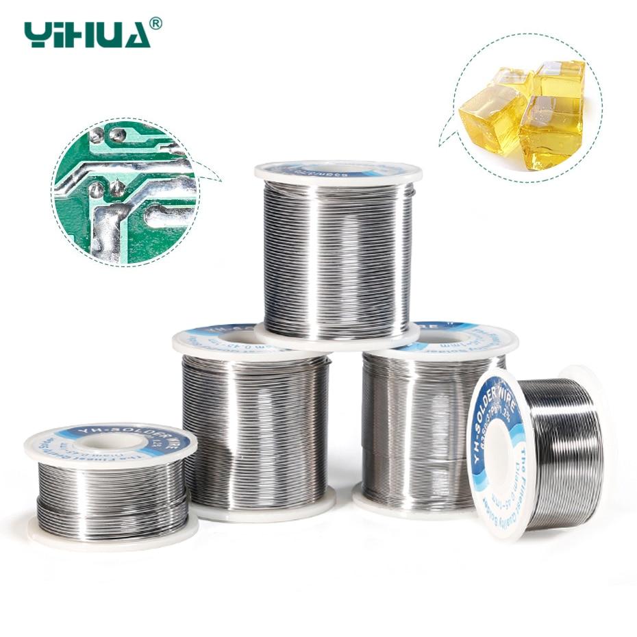 YIHUA Высокое качество припоя рулон провода канифоли ядро Олово Свинец 0,4 0,5 0,6 0,8 1 мм пайки оловянные провода с флюсом сварки железной проволок...