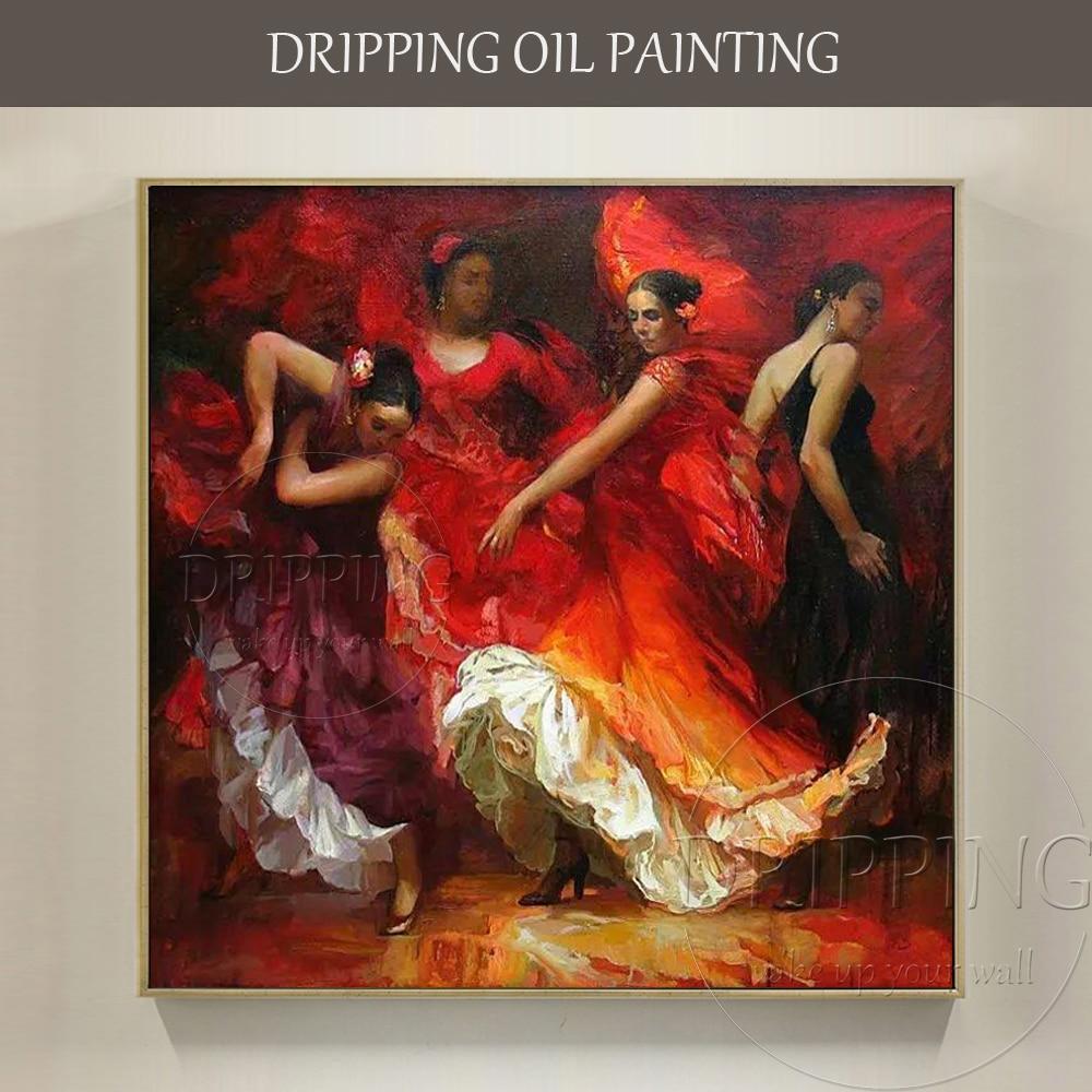 Luxury Artwork Top Artist Hand-painted Spain Dancer Flamenco Dance Oil Painting Impressionist Flamenco Dancer Portraits Painting