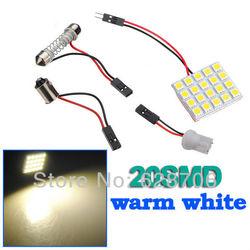 10 pçs branco quente 20 smd led painel de luz lâmpada t10 cúpula lâmpada ba9s 12 v adaptador