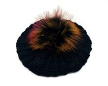 B179103 nouveau chandail extensible à la mode   Béret de pompon de raton laveur, meilleur accessoire de cheveux à pompon pour femmes, design de chapeau personnalisé