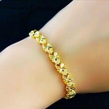 wholesale pure gold color 4MM FLOWER HEART bracelet 19CM FOR WOMEN Free Shipping.Fashion 24k gold GP Women Jewelry Bracelet