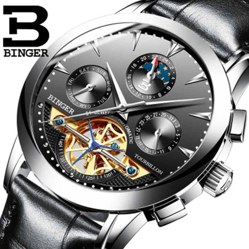 BINGER-ساعة رجالية فاخرة ، أصلية ، ميكانيكية ، ذاتية الملء ، حزام جلدي ، مقاومة للماء ، أوتوماتيكية ، مينا سوداء ، توربيون عصري