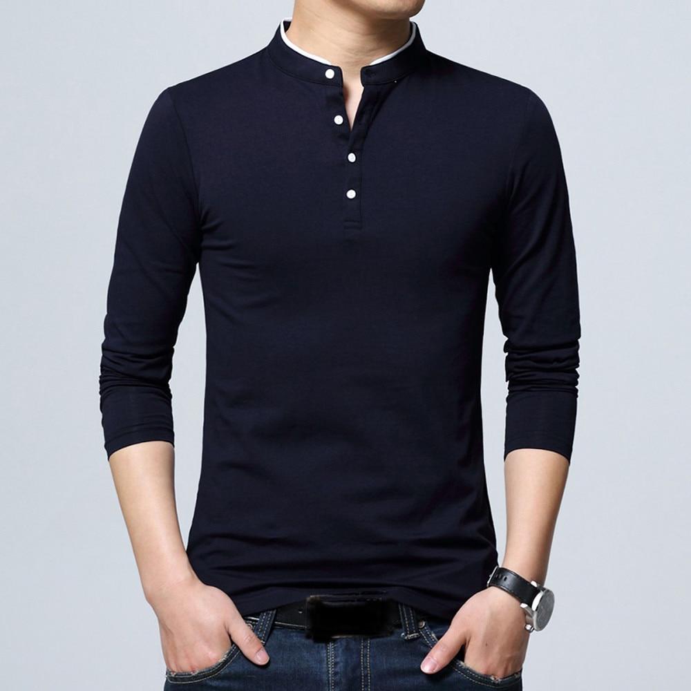 T-Shirt Men Long Sleeve Cotton T Shirt Stand Collar Tshirt Men Solid Color T-shirts tops&tees Brand Soft Slim Fit Shirt Camiseta