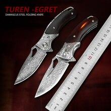 TUREN-다마스커스 강철 접는 나이프 티타늄 합금 나무 손잡이 야외 도구 EDC 사냥 주머니 칼 모자이크 파이썬 칼집