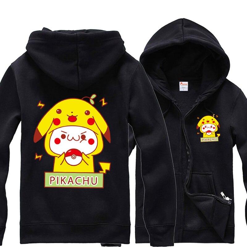 Sudadera con capucha Casual de moda Pokemon lindo Pikachu Fleece Sudadera con capucha Jersey de manga larga con capucha caliente Tops primavera otoño abrigo