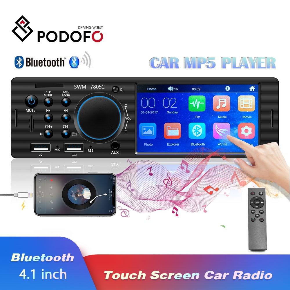 "Podofo Bluetooth Autoradio Car Stereo Radio Touch Screen FM Aux Input SD USB AUX 12V In-dash 1 din 4.1"" MP3 Multimedia Player"