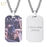 u7 stainless steel custom engraved necklace text engraving blank dog tag pendant necklace personalized name photo jewelry p1243