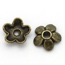 Zinc métal alliage perles casquettes fleur Bronze Antique (convient 8mm-14mm perles) motif fleur 7mm (2/8